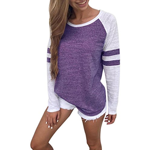 OVERDOSE Mode Damen Frauen Rundhals Lange Hülsen Spleiß Blusen Oberseiten Kleidung T-Shirt Tops Pullover (L, Purple)