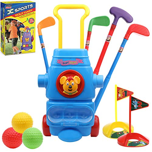 High Bounce Kids Golf Club Set - All in One Golf Sports Set Toy with Golf Cart with Wheels, 3 Balls, 2 Practice Holes, and 4 Golf Sticks for Young Golfers Toddler Kids Boys and Girls