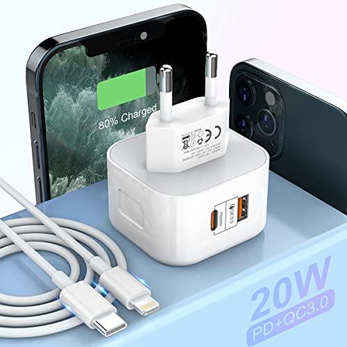 20W Cargador USB c Cargador iPhone 12 de Doble Puerto PD Power Delivery + Quick Charge 3.0 Cargador de Pared con Cable 3 pies Tipo C a Lightning Compatible con iPhone Pad Pro Samsung Galaxy y más