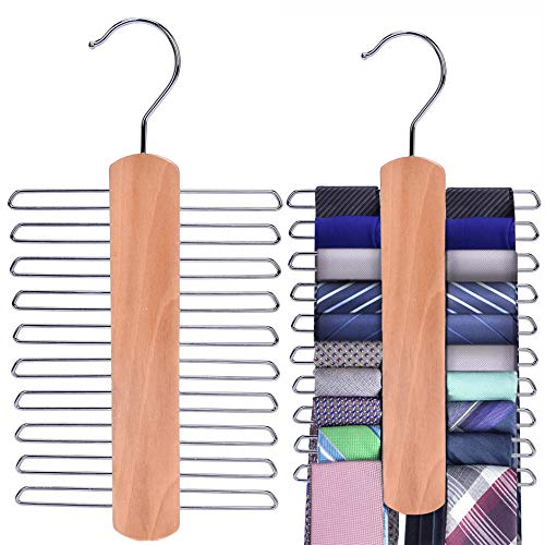 JS HANGER Wooden Necktie and Belt Hanger 2-Pack, Natural Finish Wood Center Organizer and Storage Rack with a Non-Slip Clips Finish - 20 Hooks, 360 Degree Swivel Space Saving Organizer for Men