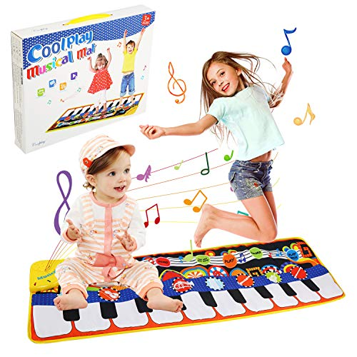 LinStyle Piano Mat, Kinder Tanzmatten Musikmatte 5 Modi & 8 Instrumentenklang Klaviertastatur Spielzeug Matte, Keyboard Matten Spielteppich für Kinder & Baby (110 * 36cm)