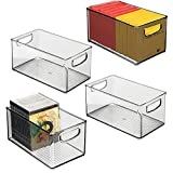 mDesign Stackable Plastic Storage Bin Container with Handles for Home Office - Holds Gel Pens, Erasers, Tape, Pens, Pencils, Markers, Notepads, Highlighters, Staplers - 5' High, 4 Pack - Smoke Gray