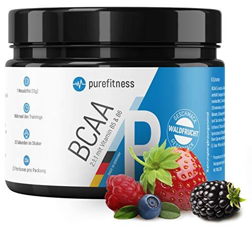 PREMIUM BCAA Pulver 2:1:1 + Vitamin B5 & B6 I 300g I Vegan I Aminosäuren Leucin Isoleucin Valin I LABORZERTIFIZIERT I BCAAS Pulver I Waldfrucht