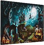 JIANSHAN Lienzo de Halloween con diseño de castillo de bruja y luna, calabaza, arte de pared, arte de amapola roja, decoración moderna para el hogar, 40,6 x 50,8 cm