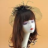 xingguang Velo de novia blanco con velo de jaula de pájaros, tocado para fiesta, sombrero elegante de tul con plumas y perlas de imitación (color negro)