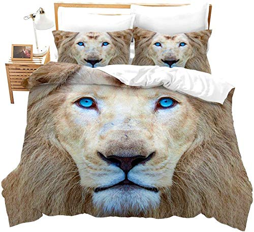 Bedroom Decoration Microfiber Modern Minimalist Blue Eyed Lion Animal Yellow 260 x 230 cm Bedding Set Comforter Cover Bed Sheet Pillowcase Bed Linens for Kids Girl Twin Full Queen King Size