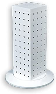 Azar 700220-WHT Pegboard 4-Sided Revolving Counter Display, White Solid Color
