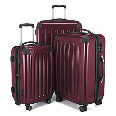 HAUPTSTADTKOFFER Luggages Sets Glossy Suitcase Sets Hardside Spinner Trolley Expandable (20', 24' & 28') TSA (Burgundy)