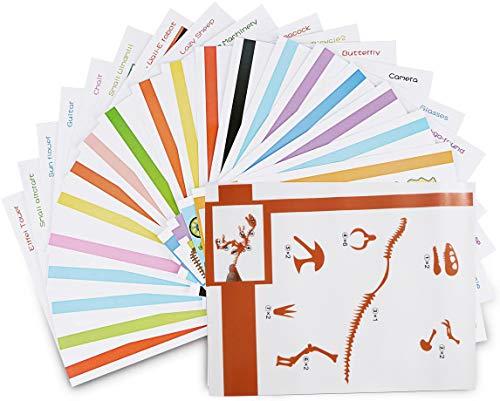 ohCome 20Pcs Modelos de papel 3D para Niños Adulto Juegos en Práctica de 3D Doodling Painting Drawing,Puede utilizarse varias veces.