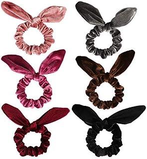 Curasa 6 Pack Bunny Hair Scrunchies Velvet Bobbles Elastic Hair Bands Rabbit Ear Women`s Velvet Scrunchy