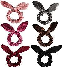 Curasa 6 Pack Bunny Hair Scrunchies Velvet Bobbles Elastic Hair Bands Rabbit Ear Women's Velvet Scrunchy
