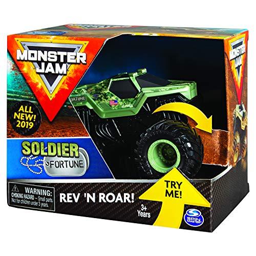 Monster Jam 6053253 - Original Monster Jam Soldier of Fortune Rev 'N Roar Monster Truck mit Soundeffekt, Maßstab 1:43
