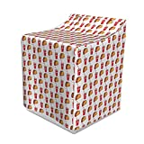 """Ambesonne Food Washer Cover, Simplistic Pattern of Appetizing Tacos and Soda Cups with Pipe Doodle Drawing Print, Dust and Dirt Free Decorative Print, 29"""" x 28"""" x 40"""", Multicolor"""
