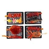 D DOLITY 4pcs Mini Barbecue BBQ Hühnchen Kebab, Oktopus, Hühnerflügel, Karausche auf Grill Essen Modell für 1:6 oder 1:12 Puppenhaus Esstisch Dekoration