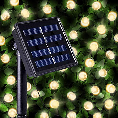 100 Warm White LED Solar Powered Fairy Lights - Waterproof Solar Decoration String Lights with Built-in Night Sensor - for Christmas, Outdoor, Garden, Fence, Patio, Yard, Walkway, Driveway, Shed, Garage, Path, Ornament, Stairs and Outside by SPV Lights (with 2-year warranty)
