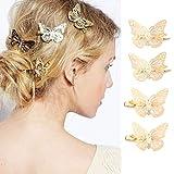 Genglass Fermagli per capelli a farfalla dorati Fermagli per capelli Accessori per capelli per donne e ragazze Confezione da 4