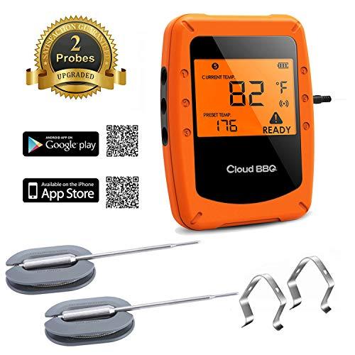 SHINYEVER Termometro Carne, Termómetro de Cocina con 6 Sondas, Digital Cocina Termómetro Bluetooth con App iOS & Android, Alarma, Termómetro de Barbacoa para BBQ, Parrilla, Horno