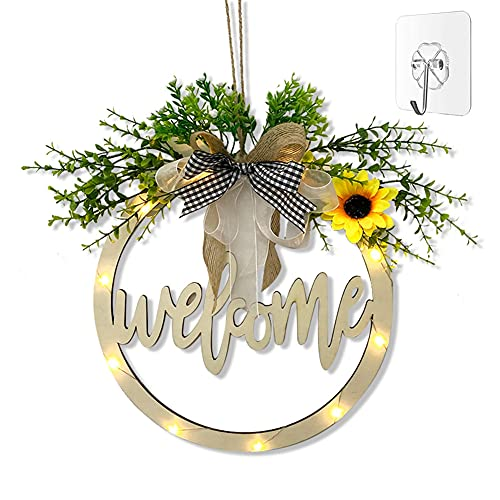 MORROWCAMP Welcome Sign for Front Door,Wooden Outdoor Porch Decor Hollow Carved,Farmhouse Sign for Spring Daisy Welcome Wreaths,Round Door Sign Hanging with a Hook & Led Light for Home Decorations