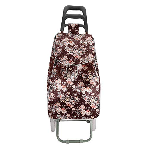 Ebbly Flower Printed Trolley Bag - Shopping Bags Large Capacity Bags for Grocery, Portable Multi-Function Shopping Trolley Bag (Black - Lips Printing)