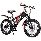 Mikia Bicicleta de montaña Bicicleta para niños 7 velocidades Bicicleta Absorción de Impacto Freno de Disco Doble por 6-14 años Niños Chicas 20/22 Pulgadas,Rojo,22inch