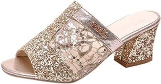 b4460867e Women's Glitter Peep Toe Heeled Sandals Sequin Breathable Mesh Mid Block  Chunky Heel Slide Sandal