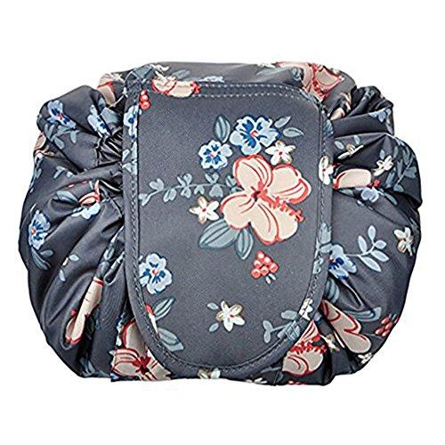 Home-Neat, portatile coulisse borsa per cosmetici grande capacità Lazy viaggio trucco della magia trousse per ragazze donne, grigio