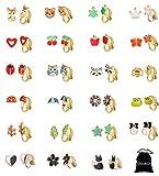 CASSIECA 23 Pares Pendientes de Clip Orejas para Mujeres Niñas No Piercing Pendientes Sin Perforación Flor Estrella Corazón Múltiples...