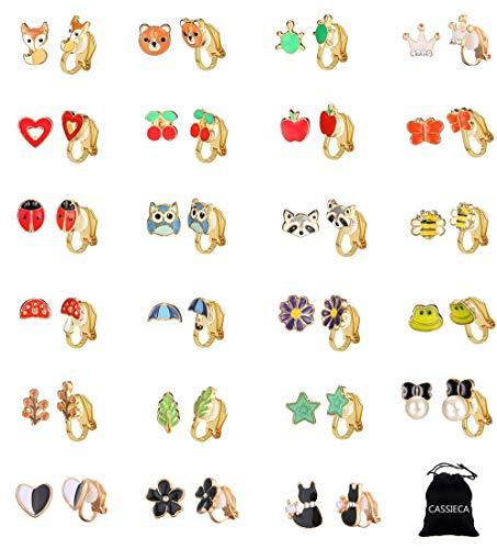 CASSIECA 23 Paia Orecchini a Clip Orecchini Senza Buco per Donne Ragazze Bambine Carino Orecchini Colorati Varie Forme Animali Orecchini Anallergici Accessori di Gioielli Il Regalo Della Figlia