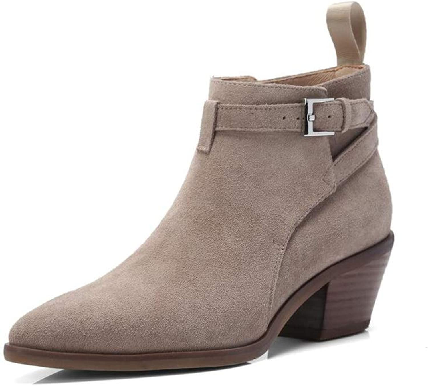 Xiaolin Women's Round Head Suede Stack Heel Western and Ankle Boots Martin Heots Belt Buckle Booties (color   A, Size   US5 EU35 UK3 CN34)