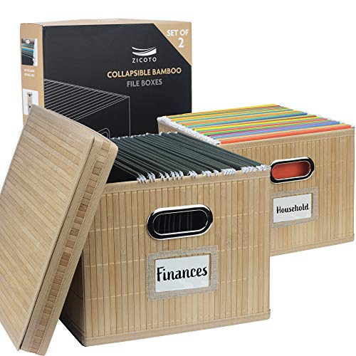 Beautiful Bamboo File Cabinet Box Set of 2 - Collapsible File Organizer for Easy File Folder Storage - Store All Your Documents and File Folders in Style