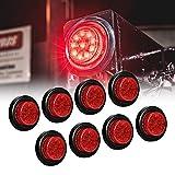 8pc 2' Red Round Trailer LED Clearance Marker Lights [DOT FMVSS 108] [SAE P2] [Reflector Lens] [Grommet] [Flush-Mount] [Waterproof IP67] Marker Clearance Lights for Trailer Truck