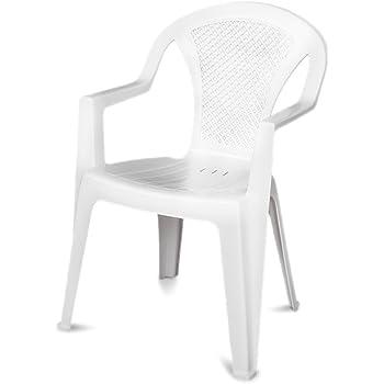 bianco Progarden 87100 Eden Sedie di plastica pieno//retro intrecciato