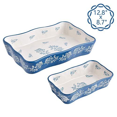 Wisenvoy Bakeware Baking Set Ceramic Casserole Dish Baking Dish Stoneware Bakeware Lasagna Pan 2-pcs Baking Pans