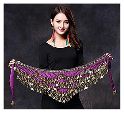 QSCTYG Cinturón De Monedas Mujeres Belly Dance Disfraz Hip Bufanda Accesorios Cinturón Falda Belly Scarf Cintura Cadena Envuelva Adulto Dancewear 112 (Color : Purple, Size : One Size)