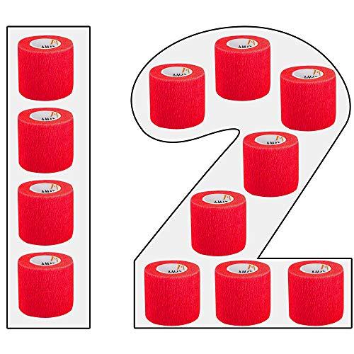 AMATHINGS 12 Stück selbsthaftende Bandagen in Rot 5cm breit 450 cm lang