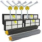 DERKOLY Aspiradora -Filtro Lateral Cepillos Kit de Herramientas de Reemplazo Limpio para iRobot Roomba 800 866 876 900