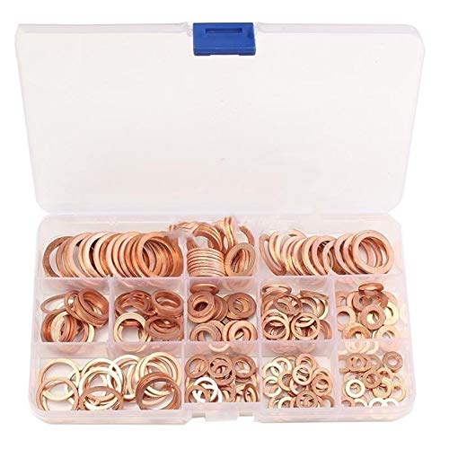 Durable 50Pcs/120Pcs /200Pcs /280PcsDIN7603 M5 M6 M8 M10 M12 M14 T3 Copper Sealing Washer For Boat Crush Washer Flat Seal Ring Fitting for Household and Commercial Appliances,