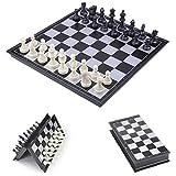LAANCOO 25x25cm ajedrez Plegable Junta Medieval magnético de ajedrez Plegable del Tablero de ajedrez Juego de ajedrez Negro