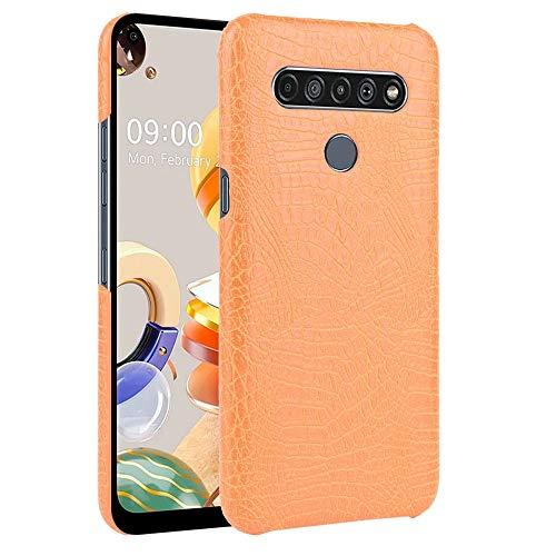 Zhangli Fundas LG For el Caso del LG K61 Prueba de Golpes Textura del cocodrilo PC PU Fundas LG (Color : Naranja)