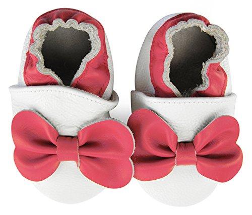 axy Chaussons en cuir pour bébé - Pour apprendre à marcher - Avec nœud papillon - Multicolore - multicolore, 18-24 Monate