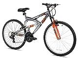 Northwoods Aluminum Full Suspension Mountain Bike, 26-Inch, Grey/Orange