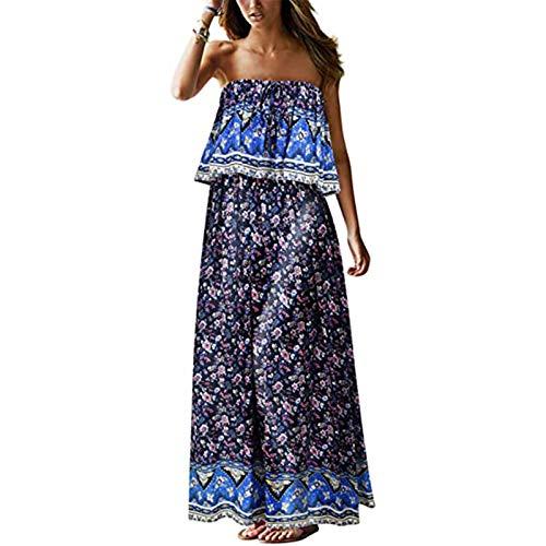 FOTBIMK Women's Summer Strapless Long Dress Beach Bohemian Floral Print Holiday Dress(XX-Large,Blue)