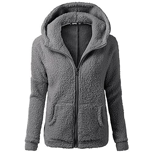 Sudadera con capucha de forro polar para mujer, cálida y ligera, con bolsillos, Wancooy, gris oscuro, XXL