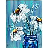 Lazodaer - Kit de pintura de diamante en 5D para decoración de pared con tres flores blancas de 39,7 x 50 cm