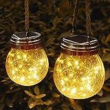 JSOT Lanterne da Esterno, 30 LED Lampade Solare a Luci Solari Esterno Luci Giardino Vintage Lampada Vetro Esterno Impermeabili Decorato in Terrazza Con Giardino (Luce Bianca Calda, Confezione da 2)