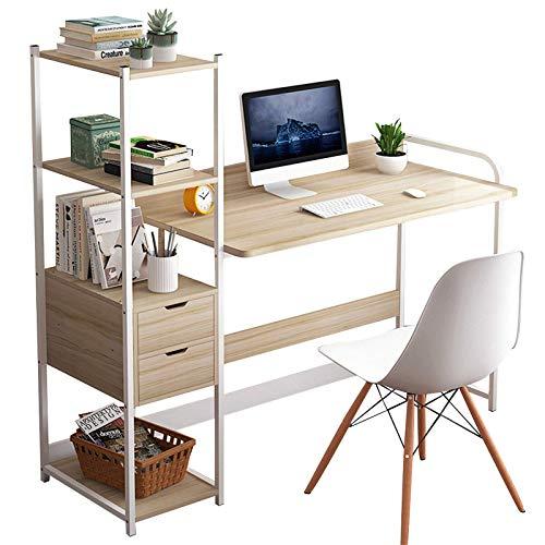 AMRT Mesa de estudio, estantería de escritorio, estación de trabajo con cajones de almacenamiento, muebles de oficina para el hogar (tamaño: pequeño; color: arce)