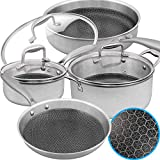 Lightning Deal Pots and Pans Set, 18/10 Tri-ply Steel luxurious Induction Stainless Steel Cookware...