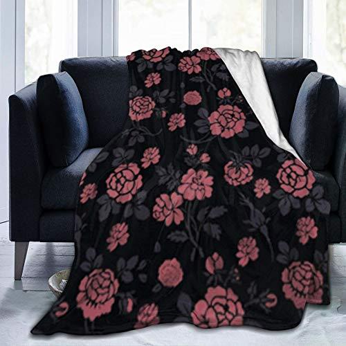 Manta de rosas rojas para decoración del hogar, suave y transpirable, cómoda manta térmica para todas las estaciones, ideal para cama, sofá