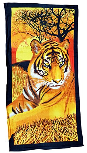 Ilkadim Strandtuch 70x140cm, Handtuch Motiv Tiger, Badetuch 100% Baumwolle Microfaser