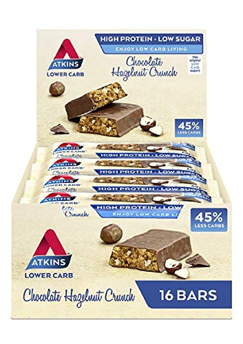 Atkins High Protein Bar, Keto Snack, Low Carb, Low Sugar Chocolate Hazelnut Crunch Snack Bar, Multipack of 16